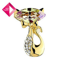 Wholesale Neoglory Alloy k Gold Plated Fashion Cat Rhinestone Zircon Brooches for Women Jewelry