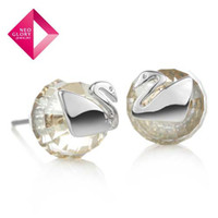 Wholesale Neoglory Crystal Swan Stud Earrings Jewelry For Women Fashion Brand Gift Promotion