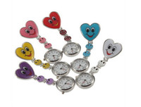 Wholesale 50pcs New Heart Shape Cute Smile Face Nurse Quartz Pocket Watch Pin Brooch Portable edison2011