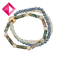 Wholesale Neoglory Crystal Agate Bracelet Multilayer K Gold Plated Bangles Jewelry Gift Designer