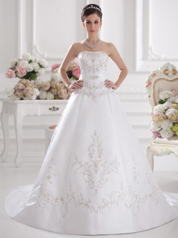 2013 high end wedding dress embroidery bra trailing for High end designer wedding dresses