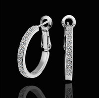 Wholesale Top quality plated K white gold inlaid rhinestone crystal hoop earrings classic fashion jewelry pair