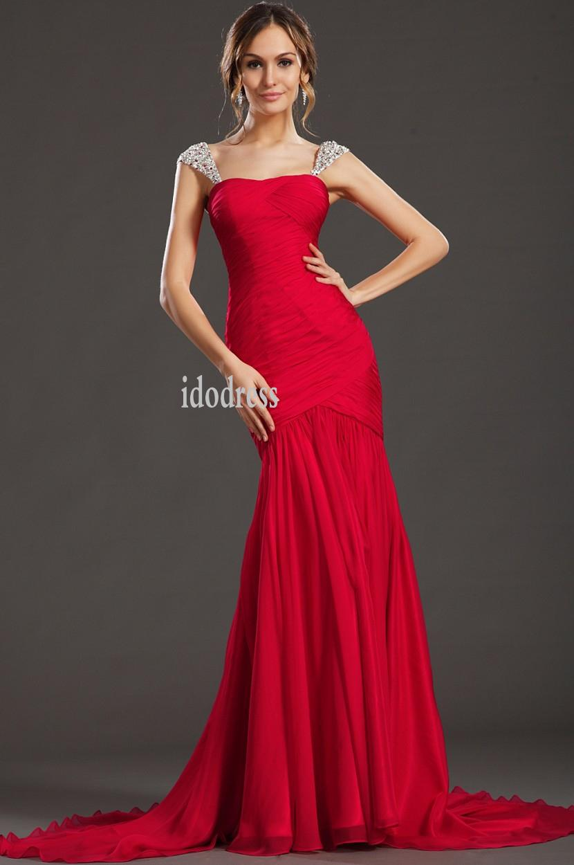 red chiffon evening dresses 2014 simple style bateau