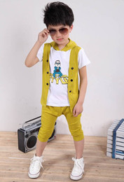 Wholesale 2013 Fashion Korean Kids Clothing Childrens Garments Boys Short Sleeve Suit Pattern PSY Color Yellow Deep Blue Orange YY32