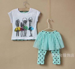 Wholesale Childrens Skirt Leggings Kids Suit Outfits Children Set Girls Lace Tights Fashion Cute Polka Dot Short Sleeve T Shirt Kids Sets Child Suit