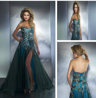 Reference Images Sweetheart Tulle Wholesale - 2013 Hot Sweetheart Peacock Split Tulle Prom Dresses with Rhinestones and Zip Back Popular Evening Party Dresses