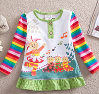 Wholesale Baby Girls Lovely In The Night Garden Appliqued Frill Printed White T shirt Dress Cotton Long Sleeve Tunic Tops B0255