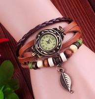 Wholesale 6 Colors aviaible High Quality Genuine Leather Vintage Quartz Watch Women bracelet Wrist Watch D7553