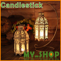 Wholesale European style decor white wrought iron glass candlestick wedding gift craft gift ornaments