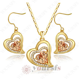 Yoursfs Personality New Arrival Jewelry Set Triple Haert Shape 18 K Yellow Gold Plated Used Crystal Dangle bridal Party Jewelry Sets S328Y2