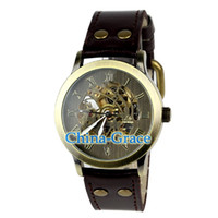 Wholesale Metal Elements Retro Style Men Mechanical Watch PU Leather Wrist Watches Coffee W356