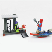 Wholesale toy construction set block building toys spiderman in the boat and green goblin at his house education kit