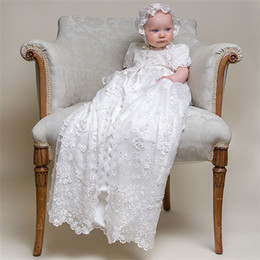 Wholesale Custom made New Lovely short sleeve Baptism Gown white ivory lace Christening Gowns Dress for Baby Girls and Boys