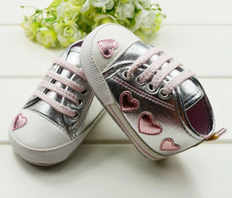 hot sale Silver cute loving heart baby shoes,lace-up Baby First Walker Shoes 6 pairs