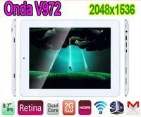 9.7 inch Quad Core Android 4.1 FREE DHL--Onda V972 Quad Core 9.7 inch IPS Retina Screen Allwinner A31 2GB RAM 2048x1536 Android 4.1 5.0MP Camera 16GB HDMI WiFi Tablet PC