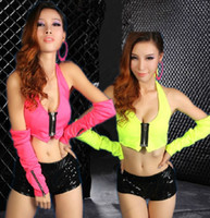 Wholesale Fashion punk hip hop T shirt female ds costumes jazz dance clothes fluorescent colors stage wear