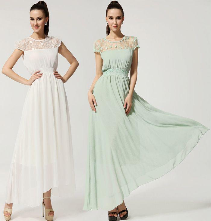 Women Short Sleeve Slim Chiffon Dress Plus Size Lace Party Evening ...