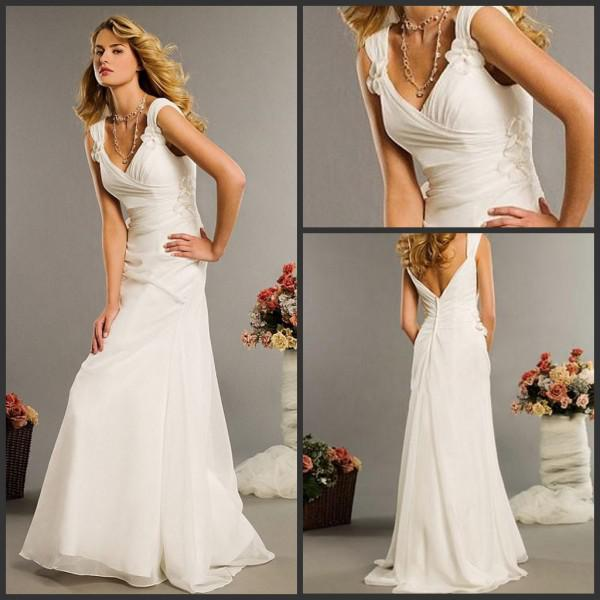 2015 beach wedding dresses v neck flowers floor length for Casual flower girl dresses for beach wedding
