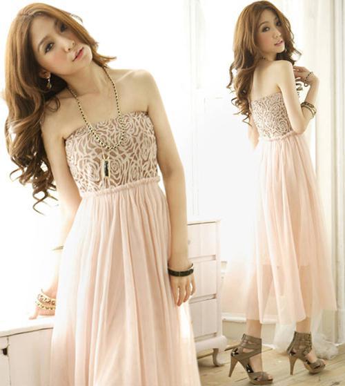 New Fashion Women Chiffon Dresses Princess Rose Pattern Gauze Tube ...