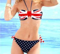 Polyester swimwear uk - 2014 New Women Sexy Breathable Nontoxic Quick Dry UK Flag Bikini Set Halter Padded Tube Top and Side Tie Brief Swimwear Size S M L YAN