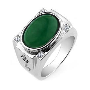 Jpf 925 Sterling Silver Jewelry Rings Emerald Green Male Korean Mens Rings Does Not Change
