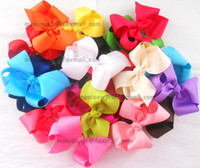 Wholesale 4 quot Grosgrain Solid Ribbon Hair bow With Clip For Toddler Girls Baby Kids Hair Accessories JD