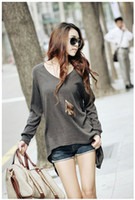 Women Cotton blends V_Neck 2013 New Womens Fashion Autunm Blouse Loose Oversized long Sleeve Modal Leisure T-shirt Cotton Blends Tops Size S,M,L,XL
