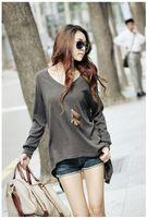 Cheap Women Autunm Blouse Best Cotton blends V_Neck Woman Tops