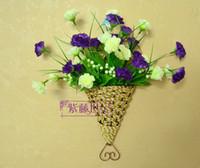 Wholesale Artificial flower basket wall hanging flower basket gaily decorated basket bamboo basket