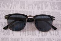 Glass alloy rims black - Men Vintage Retro Eyewear Elegant Semi Rim Unisex Sunglasses good quality Women Glsses