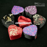Cheap Small Heart Shaped Ring Box Keepsake Jewelry Gift Boxes Chinese Silk Brocade Trinket Boxes size 8.5x