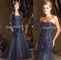 Reference Images Elastic Satin Appliqué Free Lace Jacket ! 2013 Sexy Mermaid Evening Dresses Bridal Lace Jacket Dark Blue Mother of the Bride Dresses