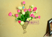 Metal ECO Friendly  Simulation Flower basket wall-hanging flower basket gaily decorated basket Sector shape 10pcs lot