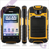 Wholesale Yellow inch Discovery V5 Anti Waterproof Android MTK6515 GHz MB Quad Band Dual Sim Card WiFi Bluetooth MP Camera Smartphone