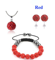 Wholesale 10mm CZ Crystal Red Clay Disco Ball Beads Shamballa Bracelet Necklace Stud Jewelry set sets