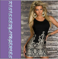 Wholesale High Quality Classic N2784 Sexy Chic Gold Embroidered Lace Tank Dress Black Club Dress