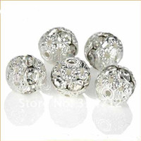 Wholesale White Clear Carved Rhinestone Spacer Beads mm Silver Plated Crystal Jewelry Round Rondelles Rhinestone Shamballa Charm Spacer