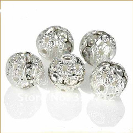 White Clear Carved Rhinestone Spacer Beads 8mm Silver Plated Crystal Jewelry Round Rondelles Rhinestone Shamballa Charm Spacer 200pcs lot