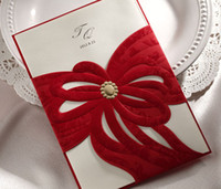 Invitations & Invitation Buckles Folded Red 50pcs lot CW1044 high quality red ribbon carve Invitation cards Wedding Invitations Wedding cards come with envelopes and seals