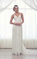 Reference Images V-Neck Chiffon Beach Lace Grecian Inspired Wedding Dresses 2013 Chiffon Sheath V-Neck Applique Ruffles Floor-Length