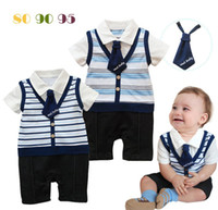 cotton baby body - Fashion Summer Gentlemen Body Suits Short Sleeved Pure Cotton Lapel Necktie Stripy Rompers Baby Boys Kids One piece Preppy Style