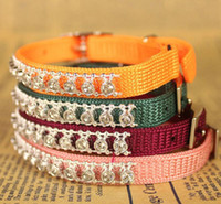 Wholesale Fashion color woven belt crystal cat collars with bell