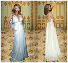 Wholesale 2013 the th Cannes Celebrity Sexy Cheap Halter Backless White Long Sheath Greek Goddess Beach Wedding Evening Party Dresses