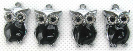 wholesale 50 Pcs Black The owl Popular DIY Metal Charms Jewelry Making pendants Gifts