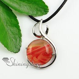 round open work semi precious stone rock crystal agate glass opal natural semi precious stone pendant necklaces Fashion jewelry Spsp1374CY0