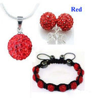 Wholesale Top Sale mm Shamballa jewelry Red CZ Crystal Clay Disco Ball Bracelet Necklace Stud Set