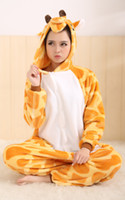 Wholesale Giraffe KIGURUMI Pajamas Adult Animal Halloween Costume S M L XL cosplay Retail