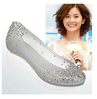 Wholesale Hot Selling Flat Diamonds Crystal Sandals Women Jelly Shoes Sandals Colors EUR36 Drop Shipping