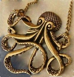 Wholesale Steampunk Antiqued Bronze Octopus Pendant Vintage Necklace Long Chain Jewelry G602