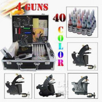 Wholesale Professional complete cheap tattoo kits guns machines ink sets power supply grips tips needles arrive within days M